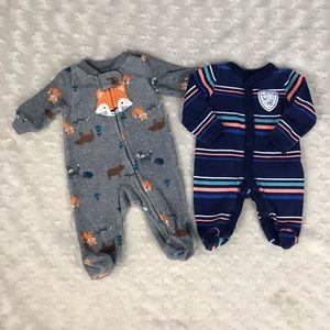Carter's Preemie Baby Boy Sleepers Fox Stripes
